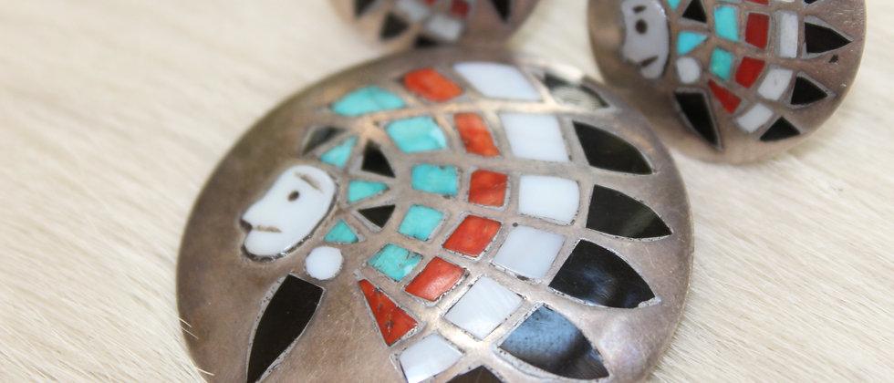 Indian Chief Pin & Earrings