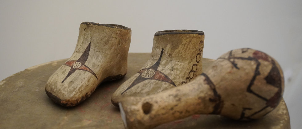 19th Century Hopi Baby Shoes & Rattle