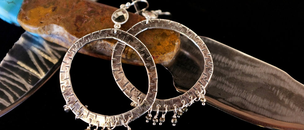 Sterling Hoops with Dangles