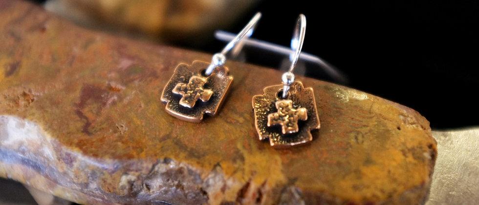 Square Style Cross Earrings