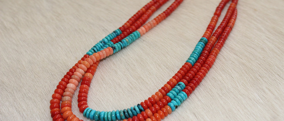 Coral, Turquoise & Gold Necklace