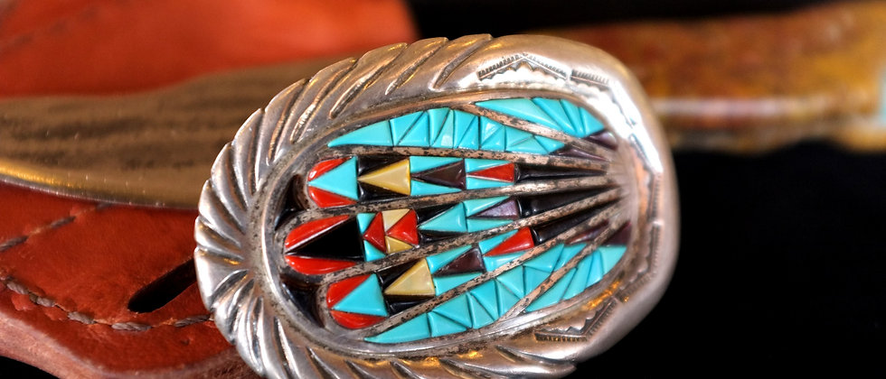 Turquoise, Coral, Mother of Pearl Inlay Belt Buckle