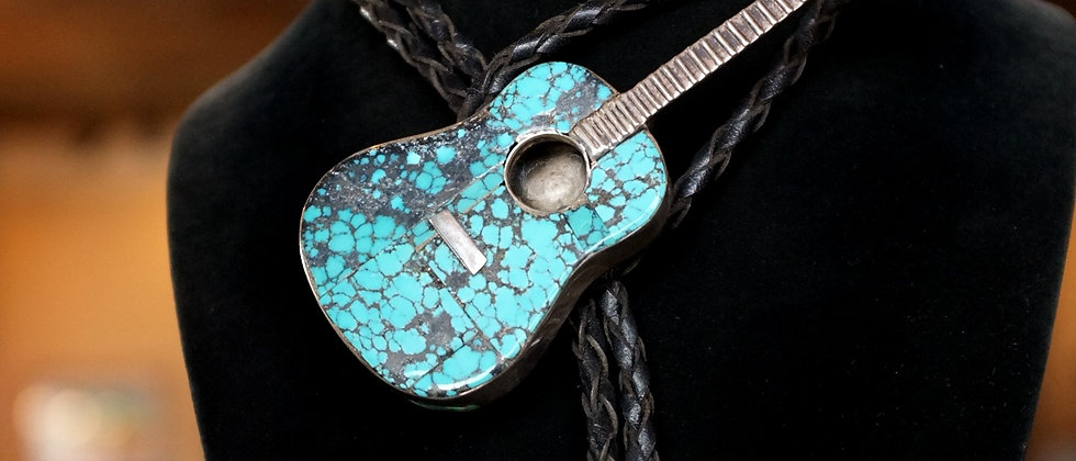 1970s Spider Web Guitar Bolo Tie
