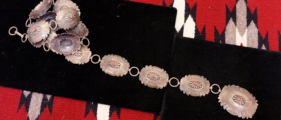 1950s Link Concho Belt with coral