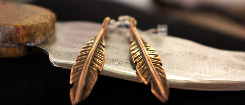 Bronze Feather Earrings
