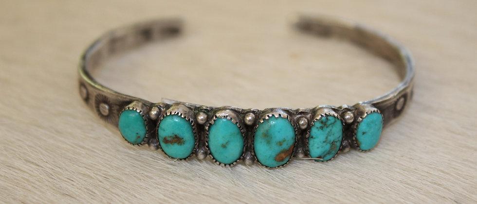 1930s Delicate Turquoise Row Bracelet