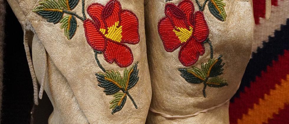Woodland Deer Hide Beaded Boots