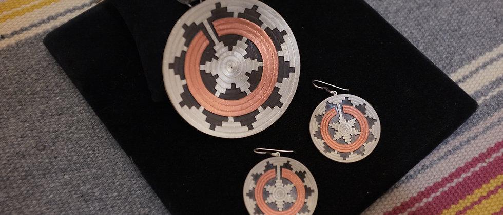 Navajo Wedding Basket Earrings & Pendant
