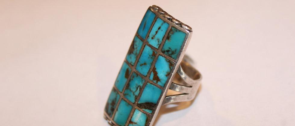 Zuni Inlay Ring - Bisbee Turquoise