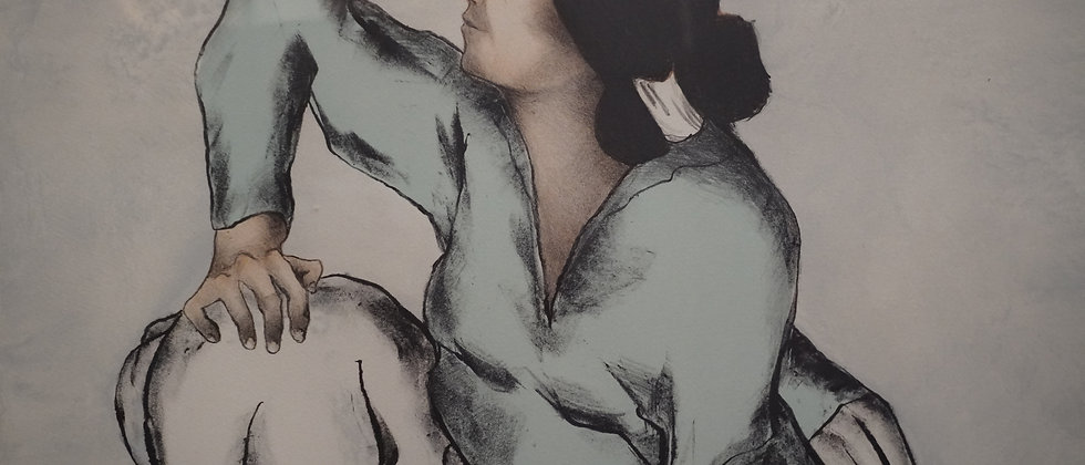 """""""Woman in Blue"""" Lithograph"""