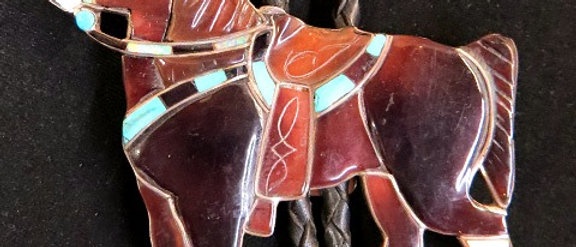 Zuni Horse Bolo Tie with Matching Tips
