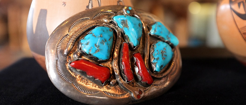 Turquoise and Coral Belt Buckle