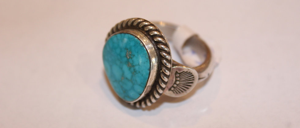 Large Navajo Ring, Kingman Turquoise