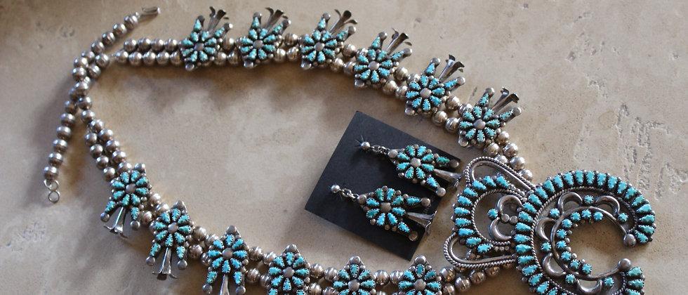 1970s Zuni Squash Blossom & Matching Earrings