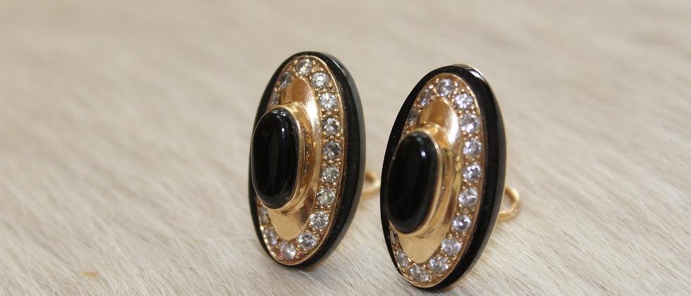 Gold, Black Jade & Diamond Earrings