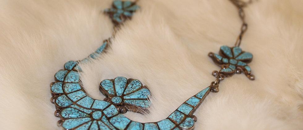 1960s Spiderweb Turquoise Necklace