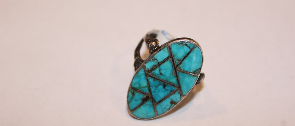 Oval Zuni Inlay Ring