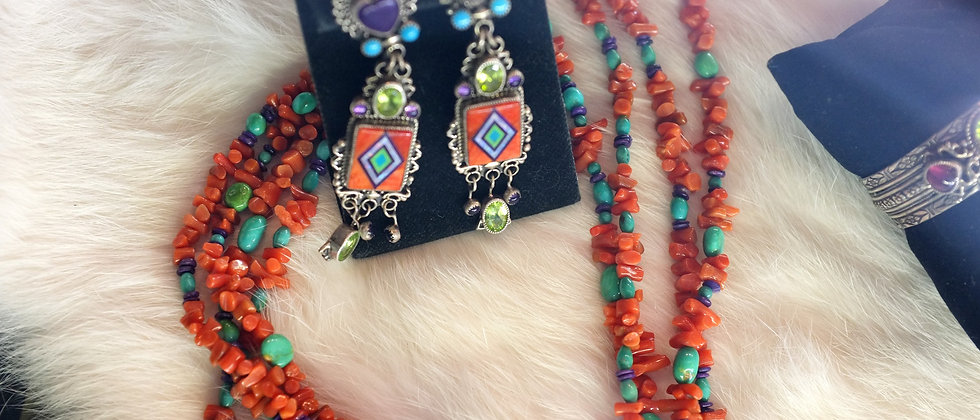 Chandelier Inlay Earrings