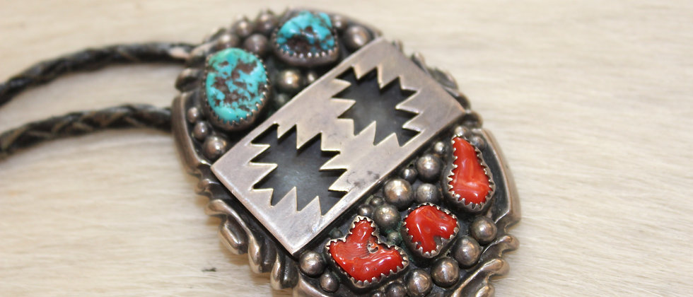 Navajo Rug Style Bolo Tie
