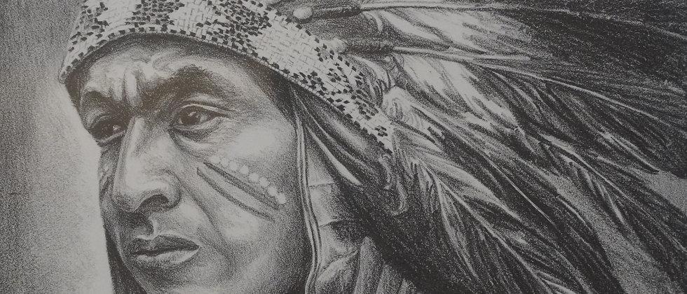 """San Ildefonso Man"" Lithograph by Charles Strausenbeck"