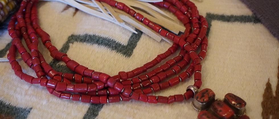 Vintage 5 Strand Coral Cross Necklace