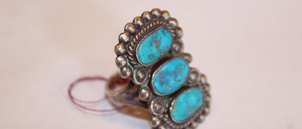 3 Stone Kingman Turquoise Navajo Ring