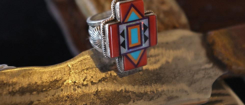 Coral Inlay Cross Ring