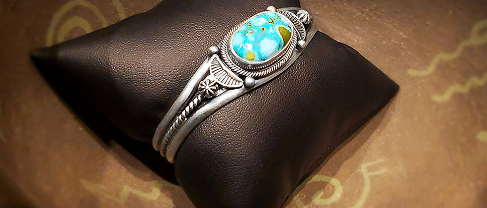 Kingman Water Web Turquoise Bracelet