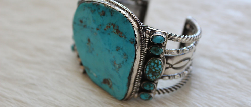 Morenci and Spider Web Turquoise Bracelet