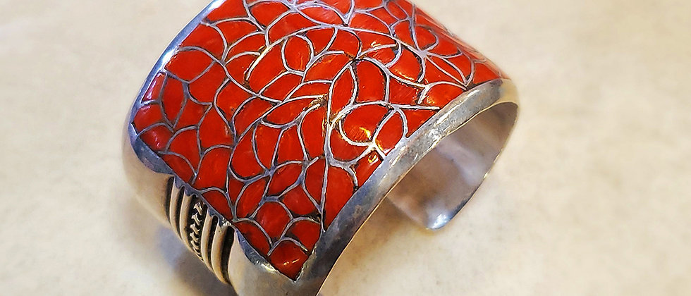 1950 Coral Channel Inlay Bracelet