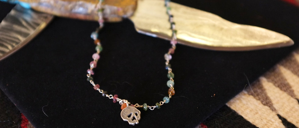 Tourmaline Chain With Skull Necklace