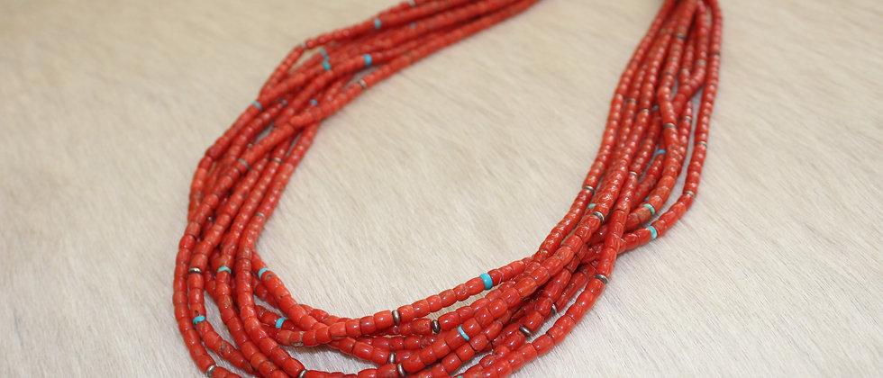 Pueblo 8 Strand Coral Necklace