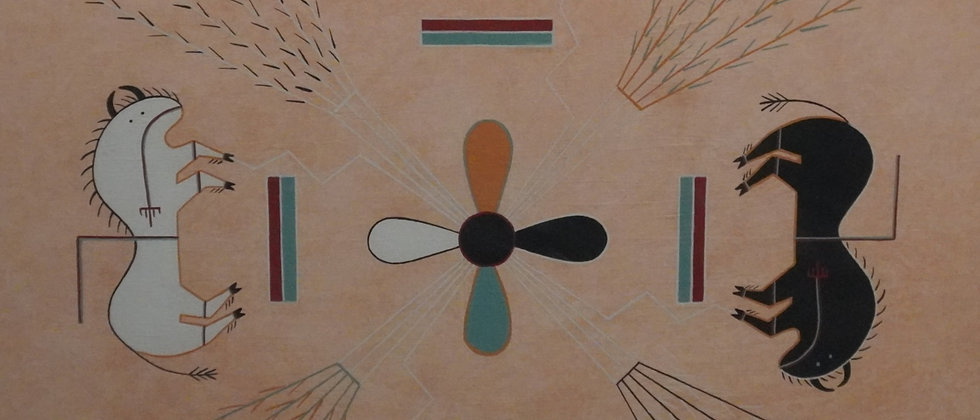 Navajo Sing Cloth Sandcast Painting