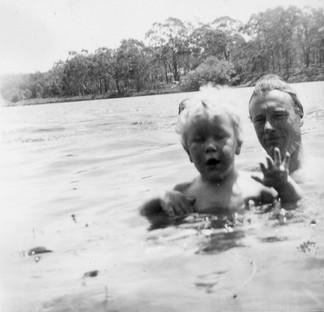 Swimming with pa in Broadwater, Barton in Tasmania, where I was born