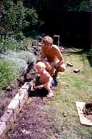 Building garden wall with Will in 1985