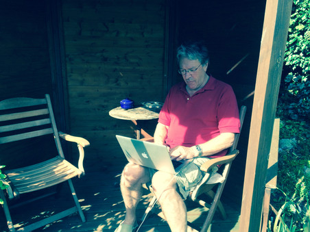 Writing the book in the gazebo in Norfolk