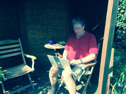 Writing the book in the gazebo in Norfolk