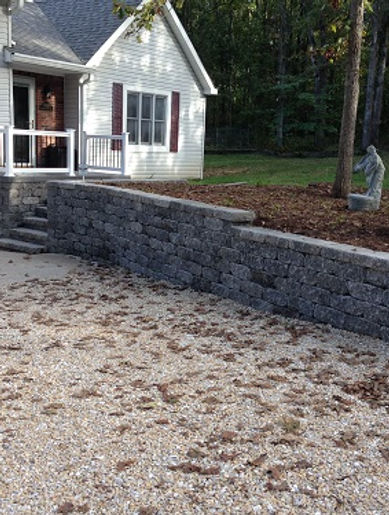 Stone steps and stone wall