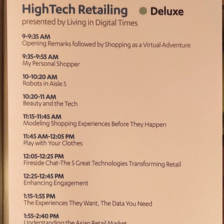 The Agenda of the High Tech Retailing Conference