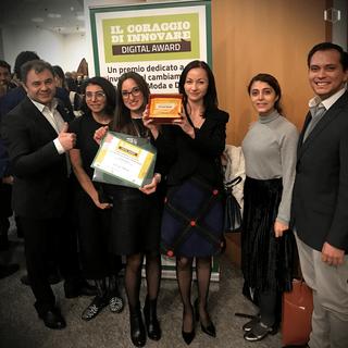 The Team with their award at Il Coraggio di Innovare Digital Award 2017