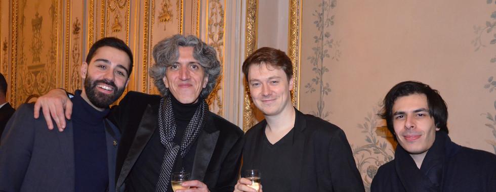 de gauche à droite Enzo Ungauer, responsable artists relations Steinway Paris, Vittorio Forte, Clémént Lefevre, pianiste, Thomas Lefort, violonisteVittorio Forte