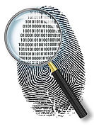 "A a fingerprint. Through a magnifier it becomes visible, that the lines are formed by ""0"" and ""1"" digits"