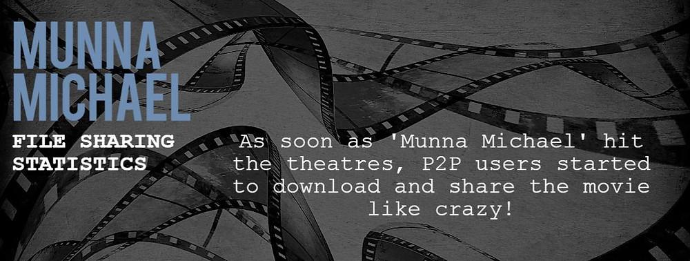 """Cover image of Bollywood Hindi movie file sharing statistics """"Munna Michael"""""""
