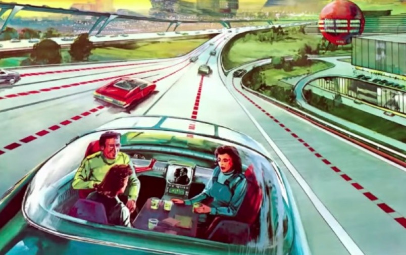 Illustration of futuristic autonomous vehicle on futuristic highway