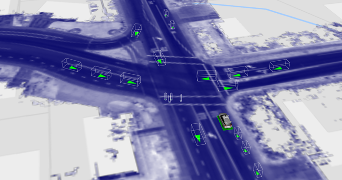 A scene from Waymo's Carcraft simulator