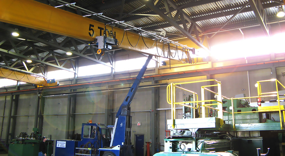 A 5 ton TRSG crane, manufactured and installed in 2007 at a pipe bending facility in Calgary.