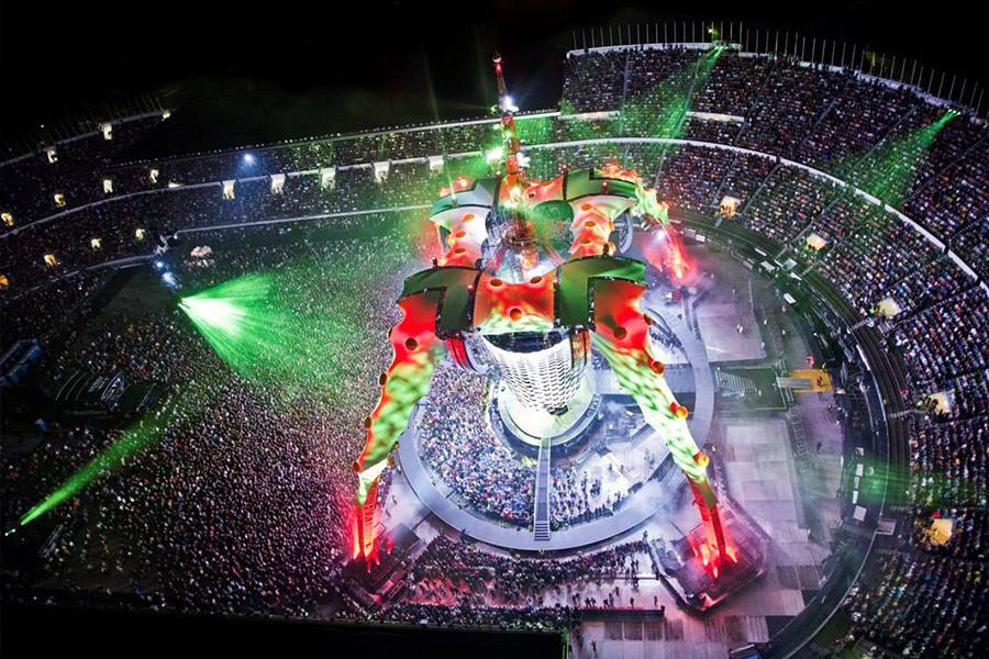 Aerial shot of the U2 360 tour stage set up, costing upwards of $31 million dollars per set-up.