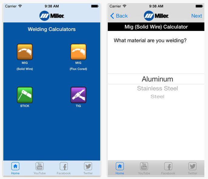 Miller Weld Setting Calculator App Screenshot