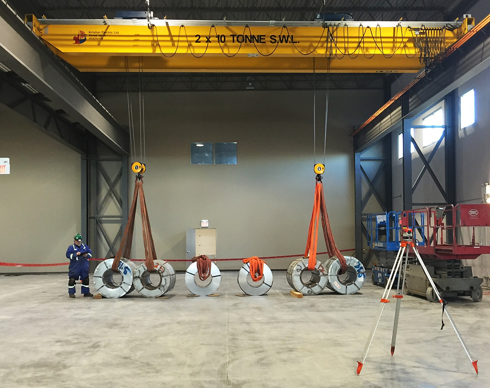 Kristian load test on a 2 x 10 tonne overhead bridge crane