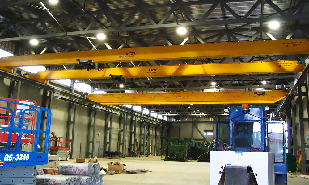 2- 5 ton TRSG Demag cranes and a pre-built 15 top TRDG crane installed in 2005.